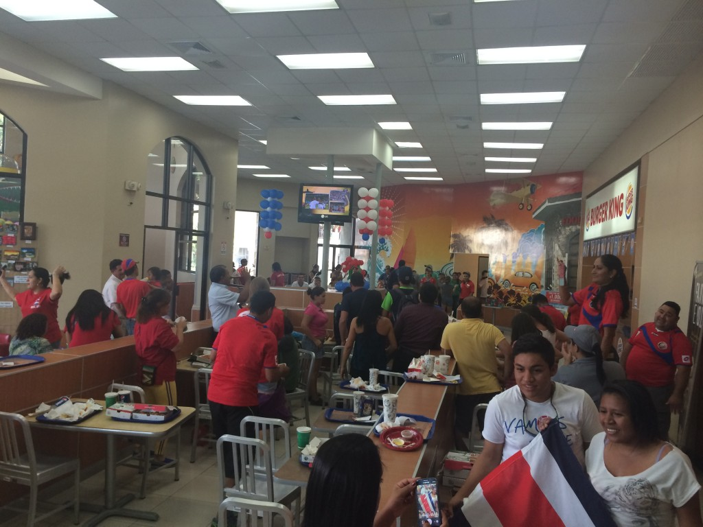 Inside the Burger King and Papa Johns food court right after the game ended.