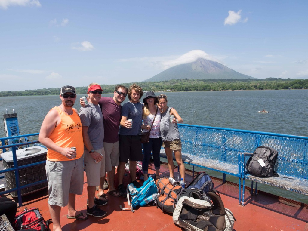 From Left: Ryan, Bruce, Drew, Ian, Laura, Alouette.  On our way from Ometepe (in background) to San Jorge.